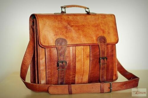 Men/'s Retro Vintage Brown Leather Messenger Bag Shoulder Laptop School Bag New
