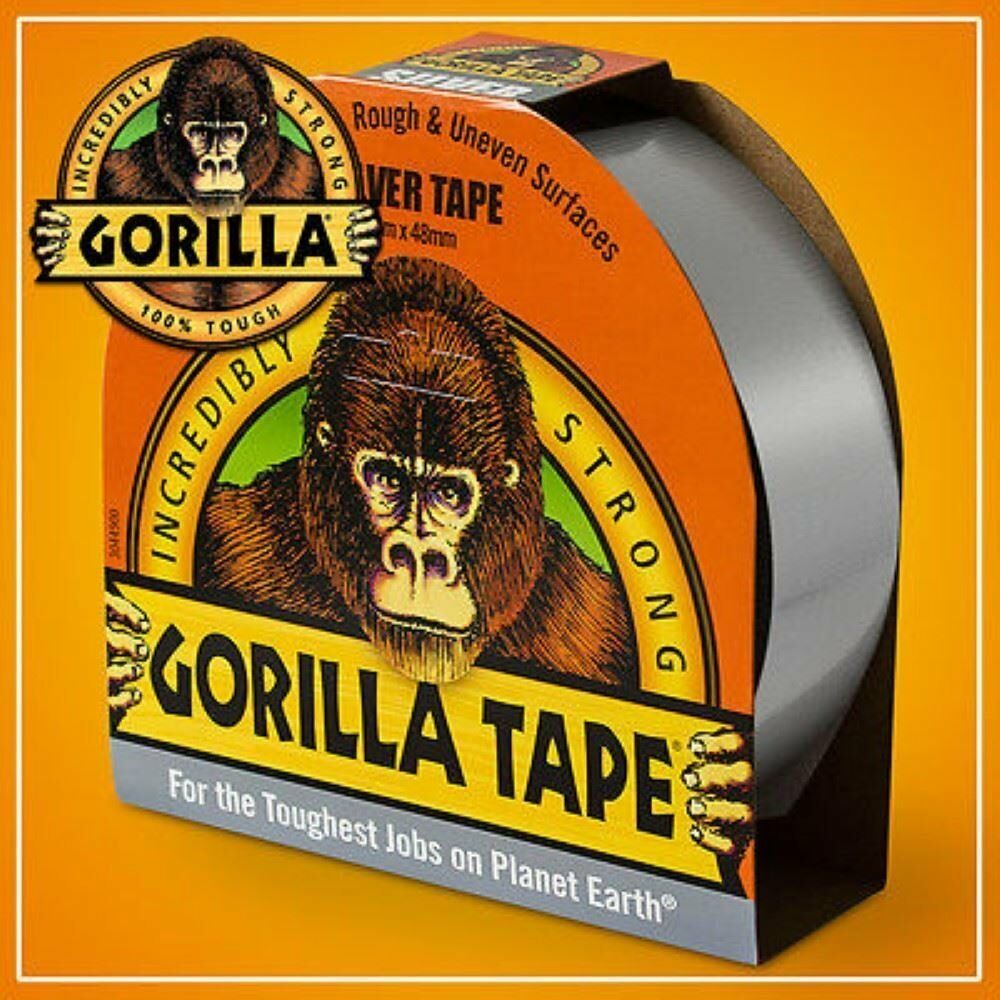 6 x GORILLA Glue Incredibly Strong Gaffer Duct Tape Toughest Job 48mm x 11M SIL