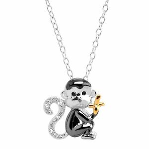 Monkey & Banana Pendant with Diamonds in Three-Tone Sterling Silver