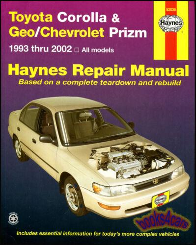 SHOP MANUAL SERVICE REPAIR BOOK HAYNES TOYOTA COROLLA GEO PRIZM CHEVY