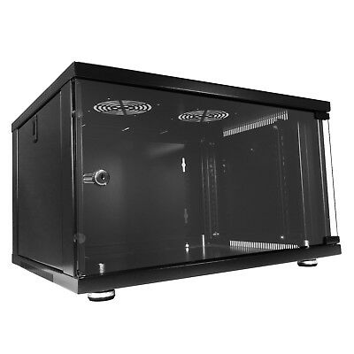 """Responsible 6u 19"""" 450mm Deep Black Floor Standing Or Wall Mounted Data Cabinet Comms Rack Pure White And Translucent Computers/tablets & Networking"""