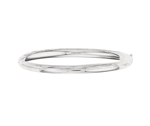 "5mm All Shiny Plain Comfort Fit Bangle Bracelet Real 14K White Gold 7/"" 8/"""