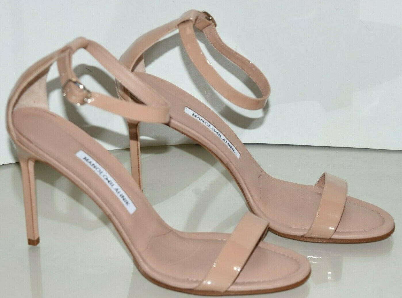 NUOVO Manolo Blahnik CHAOS  Patent Leather Sandals Heel NUl Beige Strappy scarpe 41  online economico