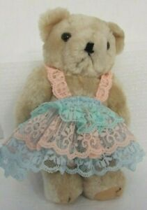 Beige-Jointed-Teddy-Bear-Wearing-Lace-Ruffle-Outfit-8-034-Tall-Colorful