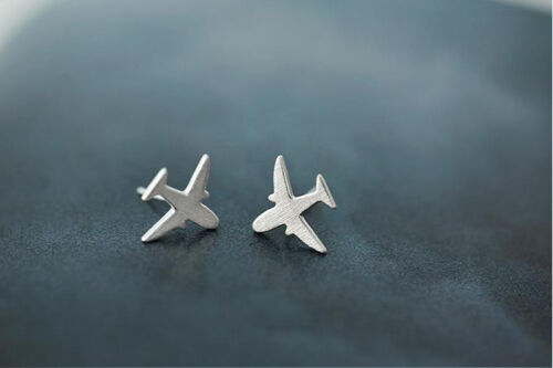 Ohrstecker Ohrring Flugzeug 925 Sterling Silber 11 mm