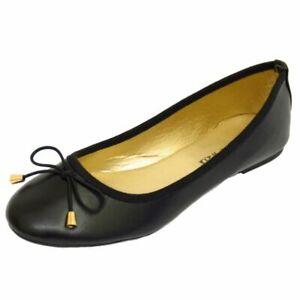 LADIES-FLAT-BLACK-SLIP-ON-WORK-SCHOOL-SHOES-DOLLY-COMFY-BALLET-PUMPS-SIZES-3-8
