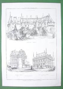 ARCHITECTURE-PRINT-France-Castles-at-Langeasi-Brissac-Azey-le-Rideau
