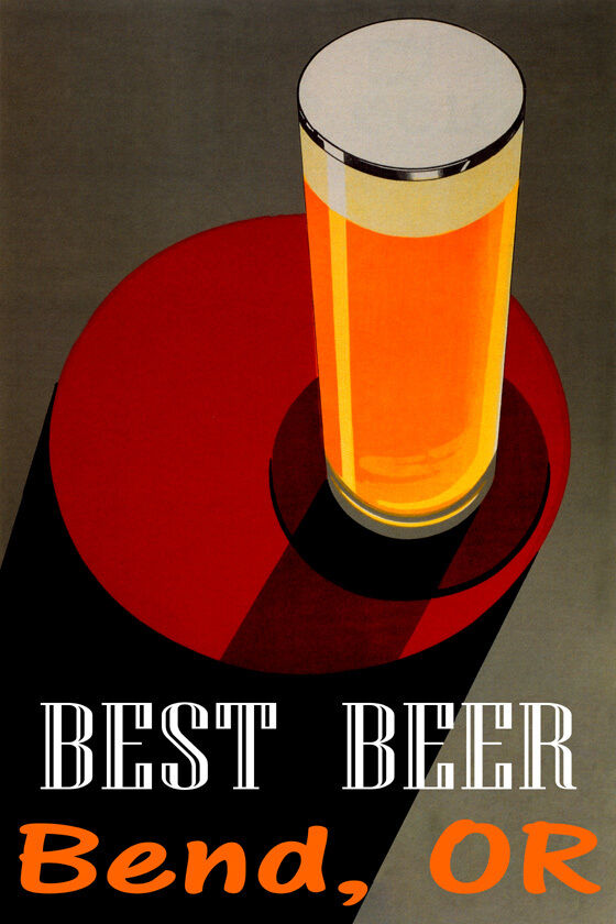 BEST BEER BEND OREGON STOUT BLONDE PALE ALE braun LAGER VINTAGE POSTER REPRO