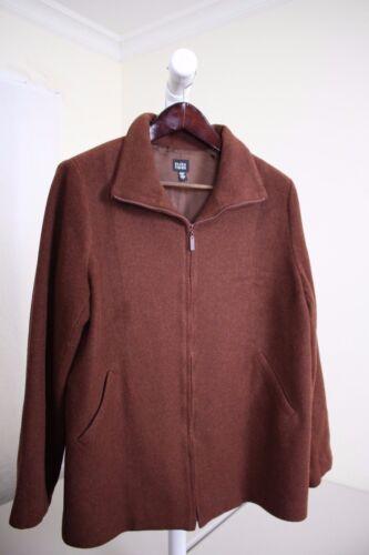 Størrelse Jakke Brun 100 Rayon Eileen Fuldt Fisher Foret Large lynlås uld qz6WZA