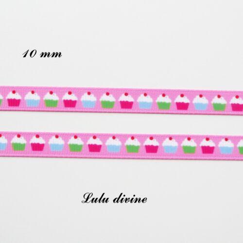 Ruban gros grain rose Petit gâteau Cupcake de 10 mm vendu au mètre