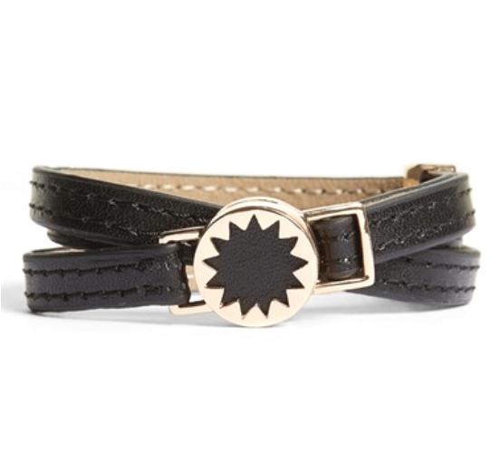 House Of Harlow Black Sunburst Leather Wrap Bracelet 0337