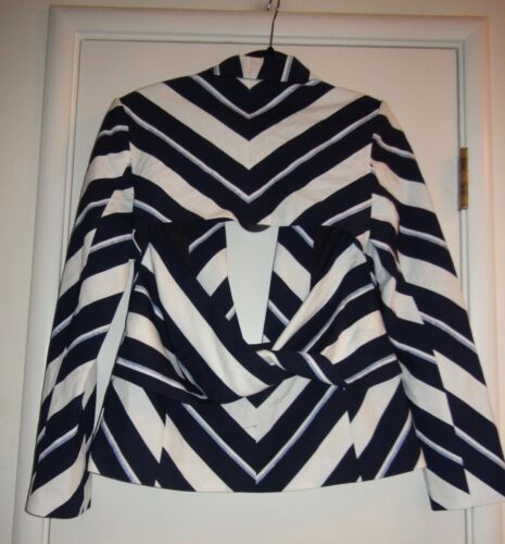 S Nwt Blue Chevron Blazer Keepers White New Sample Sz Navy Finders Stripe Memory qfFva