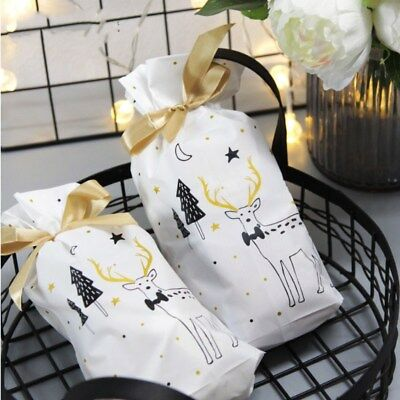 5PCS Christmas Party Gift Drawstring Packing Stocking Cello Candy Bags Packing
