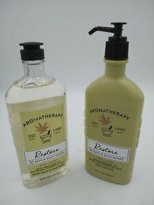Bath-amp-Body-Works-Aromatherapy-RESTORE-Sage-Mint-Body-Wash-amp-Lotion-Hemp-Seed