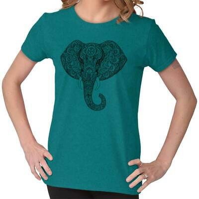 Hindu indian soft color elephant 3//4 Short sleeve White Women/'s T-Shirt