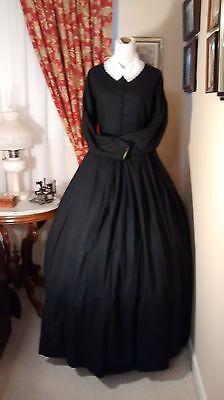 Civil War Reenactment Ladies Day Dress Size 16 Black Homespun Mourning