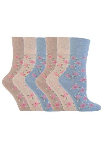 6 pairs Ladies SockShop Cotton Gentle Grip 4-8 uk Socks Cubic Rose RH46