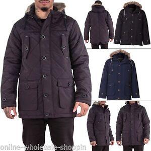 Brave-Soul-Mens-Coat-Faux-Fur-Hood-Quilted-Parka-Warm-Jacket-Winter-Long-Sleeve