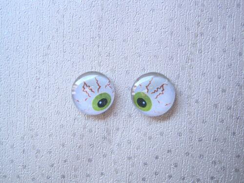 *DOMED GLASS SPOOKY EYEBALL* Stud 14mm SP Earrings HALLOWEEN White Green Eye
