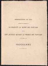 Programme. En l'honneur de la Reine et du Prince des Pays-Bas. Vers 1930