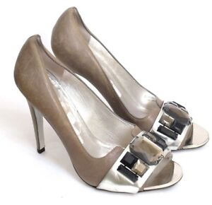 0b84868268f GUC+ Tory Burch Women s Size 8M Bejeweled Silver   Taupe Leather ...