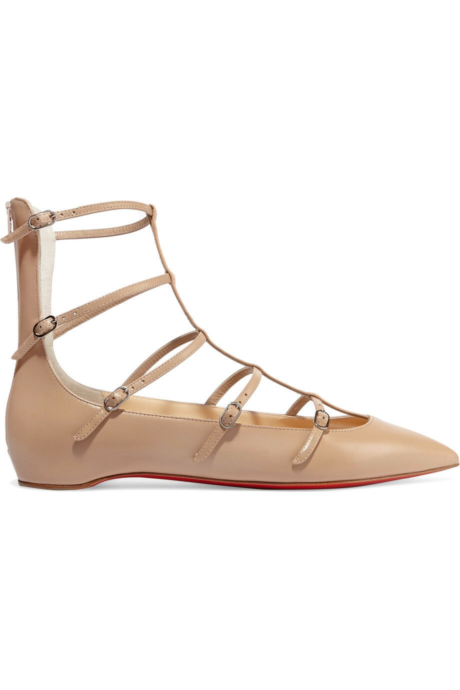 NIB Christian Louboutin Louboutin Louboutin Toerless Muse Buckled Leather Point-Toe Flats Size 37 bcdb35