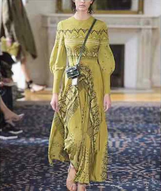Women Occident Runway Vintage Printed Lantern Long Sleeve Dress Full Lenght Gown