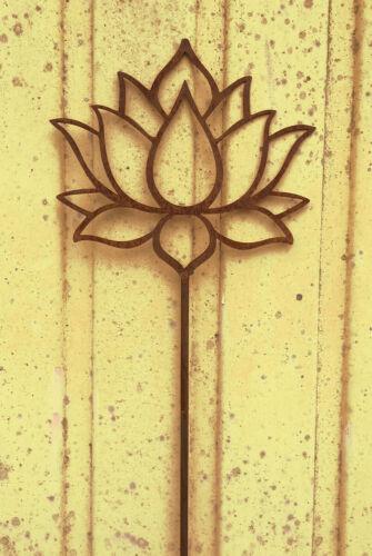 Lotus Blume Blüte 37 cm x 115 cm Gartenstecker Edelrost Rost Yoga Seerose Rose
