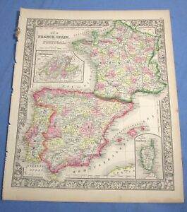 Map Of Spain Portugal And France.1865 Colored Map France Spain Portugal Inset Island Of Corsica