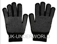 ADULTS MENS BLACK MAGIC RUBBER GRIPPER WORK CYCLING WINTER WARM GLOVES ONE SIZE