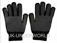 Adults Mens Black Magic Rubber Gripper Gloves Work Cycling Winter Warm One Size