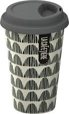 La Cafetiere GREY Bunting TRAVEL MUG Ceramic ECO CUP & LID 250ml DOUBLE WALL