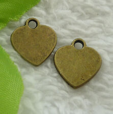 Free Ship 100 pieces bronze plated heart charms 15x14mm #2264