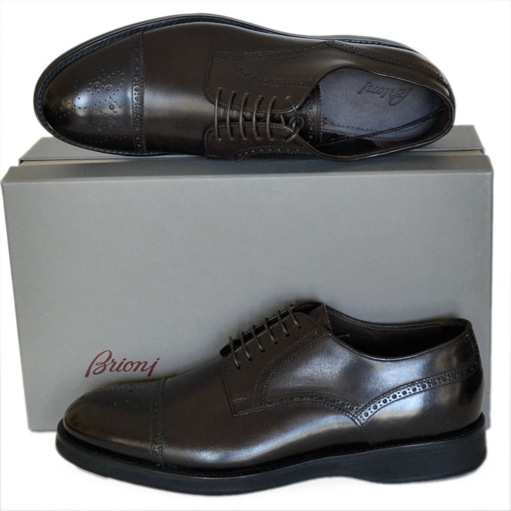 BRIONI New sz US 10.5 Authentic Designer Mens Leather Oxfords shoes brown