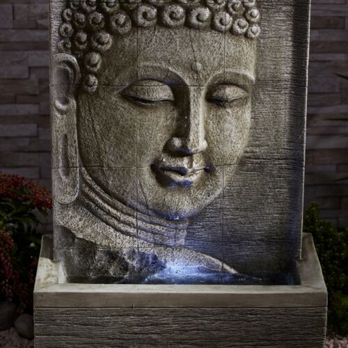 Serenity Buddha Water Wall Feature Fountain Self Contained 80cm Garden Ornament