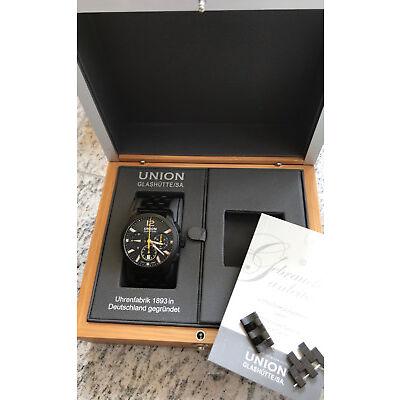 Union Glashütte Belisar Chronograph schwarz mit gelben Chronographenzeigern