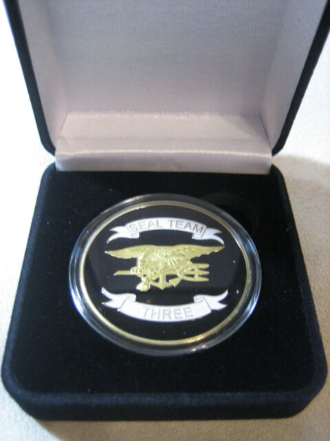US NAVY SEAL TEAM THREE Challenge Coin w/ Presentation Box