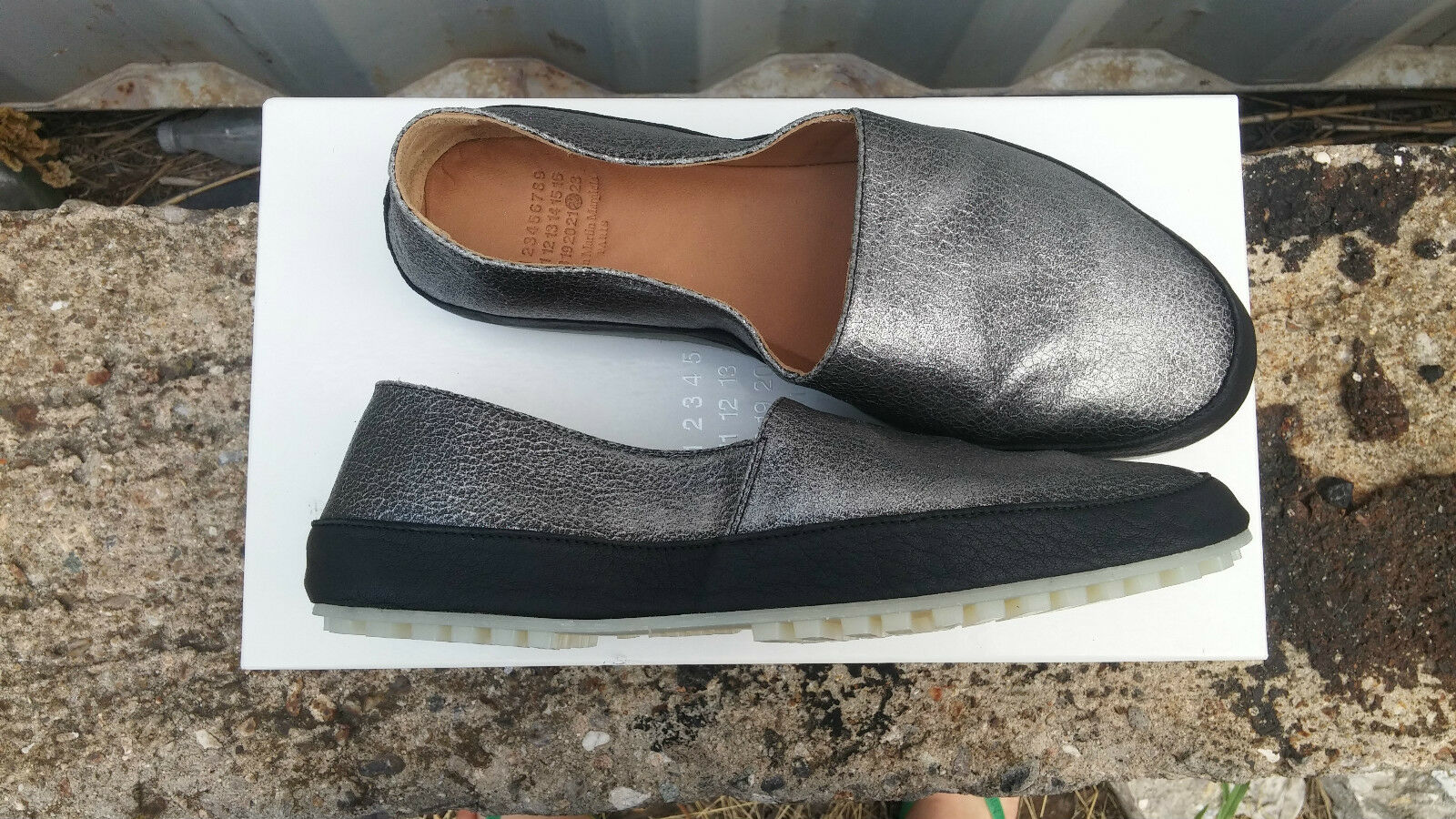 MAISON MARTIN MARGIELA Metallic Leather Espadrilles Slip Ons Flats shoes size 40
