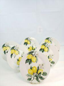 "6 Royal Norfolk Tuscan Lemon Print Ceramic Stoneware Round Dinner Plates 10.5"""