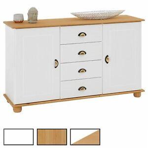 Buffet commode vaisselier rangement 4 tiroirs au centre 2 portes en pin massif