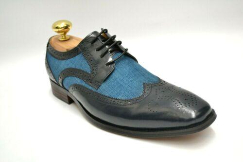 Men/'s Stacy Adams Kemper Navy//Teal Wingtip Oxford Dress Shoes