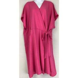 Bobeau-Womens-Wrap-Dress-Pink-Surplice-Neck-Kimono-Sleeve-Stretch-Plus-2X-New