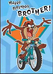taz on a mountain bike hallmark looneytunes happy birthday