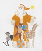 Needlepoint Handpainted Curtis Boehringer Christmas Toy Santa 8.5 X 10.5
