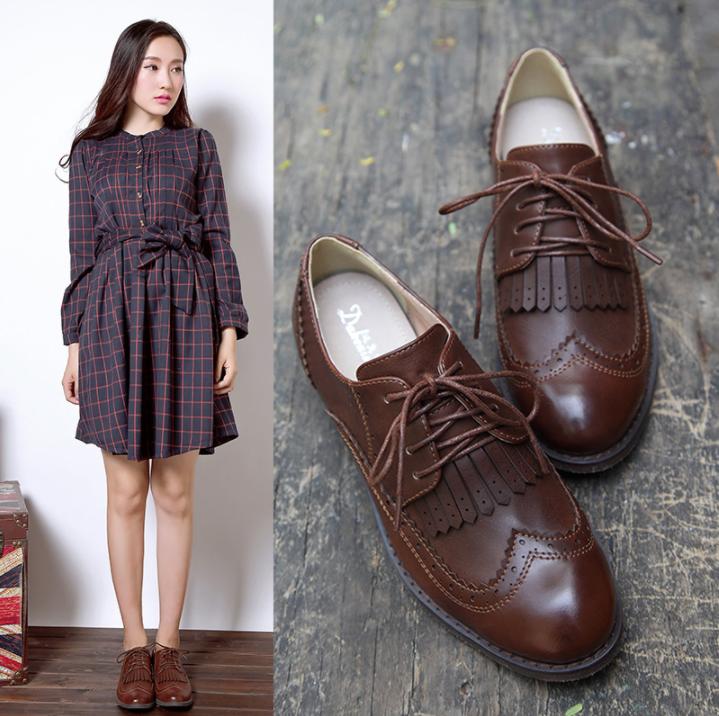Vintage Ladies Low Heel Frange Tassel Wingtip Brogue Lace Up Oxford Outwear shoes