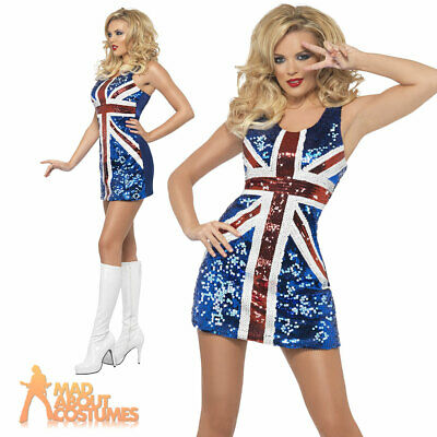 Womens All That Glitters Rule Britannia Costume Ginger Spice Ladies Fancy Dress
