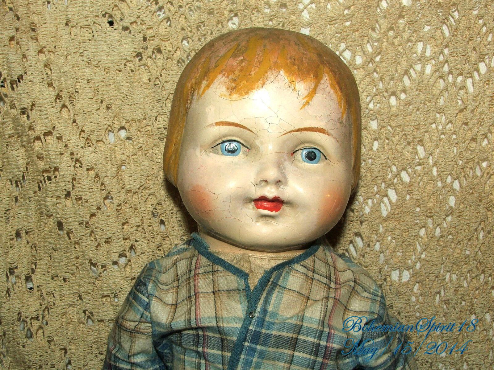 Composición Antiguo Cabeza Brazos Original Vestido Doble Articulado Girl Doll
