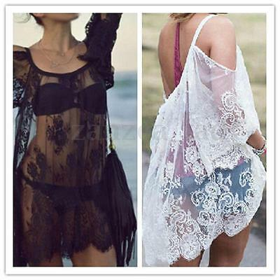 Women's Floral Lace Crochet Beach Tops Blouse T-shirt Sheer Mini Dress Sundress