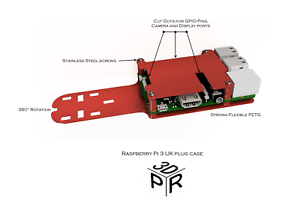 Model B 3D Printed case to fit UK Plugs PETG Red Raspberry Pi 3 Pi 2
