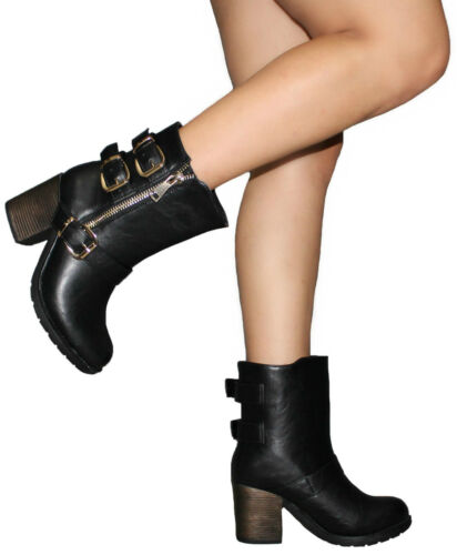 Stivali Donna Stivaletti Biker Boots con Fibbie numeri 37 38 art 839